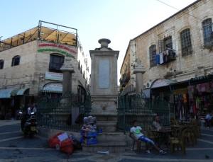 Het centrale pleintje van het Christelijke gedeelte van Oud Jeruzalem