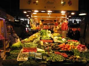 Groenten en fruit in de markthal
