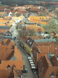 Uitzicht vanaf kerktoren in Ribe