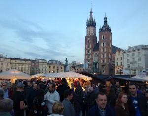 Stadsgezicht Grote Markt in Krakau