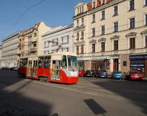 Trams door het oude stadscentrum