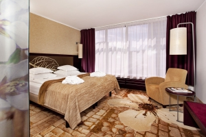 Een van de kamers in het hotel