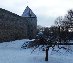 De stadsmuren van Tallinn in de winter
