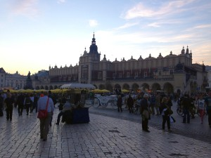 Het grote marktplein van Krakau