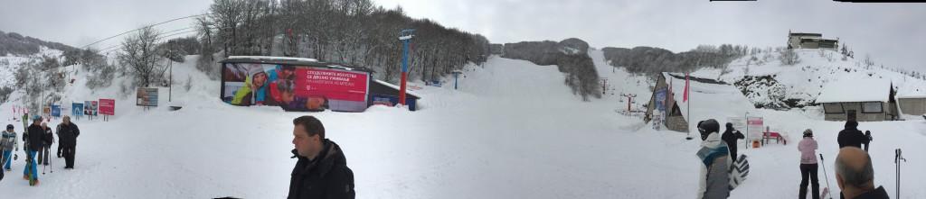 Panorama van onderaan de piste