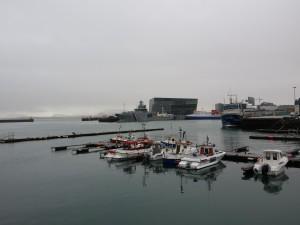 Zicht op de Opera en haven van Reykjavik